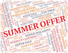 Summer Offer Means Reduction Summertime And Season - stock illustration