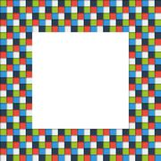 Mosaic picture frame made of colorful squares with shadow - stock illustration