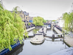 Timelapse LONDON, Camden Town. Boats and people in the dock. Stock Footage