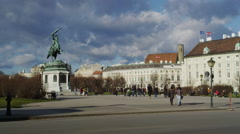 Hero Square with Hofburg Palace and the statue of Archduke Charles of Austria Stock Footage