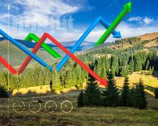 Ecology concept 3D graphs over mountain forest Stock Photos