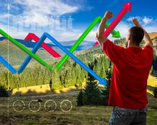 ecology concept 3D graphs over mountain forest - stock photo