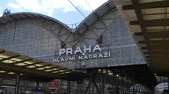 Logo of Prague Main Railway Station Stock Footage