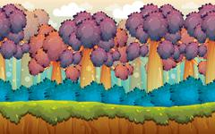 Mystic Forest Game Background - stock illustration
