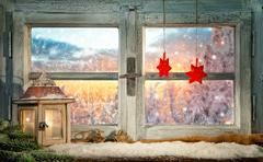 Atmospheric Christmas window sill decoration Stock Photos
