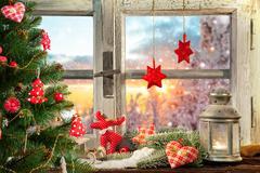 Atmospheric Christmas window sill decoration Stock Photos