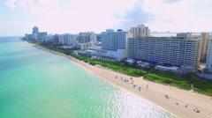 Stock Video Footage of Aerial Miami Beach residential condominiums 2