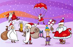 cartoon group of santa clauses - stock illustration