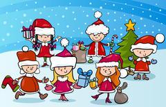 Stock Illustration of cartoon kids on christmas