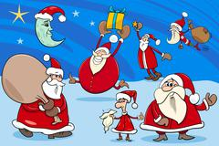 Stock Illustration of santa clauses group cartoon