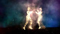 Two particle fire dancers. - stock footage