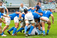 ROME, ITALY - NOVEMBER 18 2006. Rugby test match Italy-Argentina. Scrum - stock photo