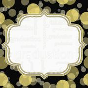 Yellow and Black Graduation Polka Dot Frame Background - stock illustration