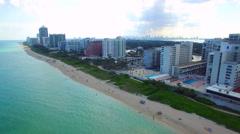 Stock Video Footage of Aerial Miami Beach residential condominiums 4