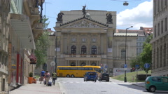 View of the State Opera on Wilsonova street in Prague Stock Footage
