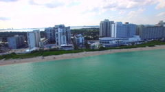 Stock Video Footage of Aerial Miami Beach residential condominiums 5