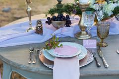 decorated for wedding elegant dinner table - stock photo