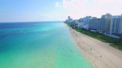 Stock Video Footage of Aerial Miami Beach residential condominiums