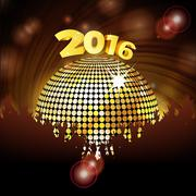 Sparkling disco ball 2016 and crowd - stock illustration