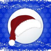 Santa Hat over festive blue background - stock illustration