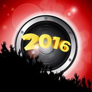 New Year party 2016 with speaker and crowd Stock Illustration