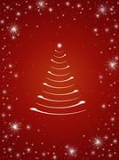 christmas tree in red - stock illustration