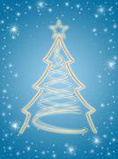 Golden 3d christmas tree in blue Stock Illustration