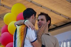 ROME, ITALY - JULY 9 2005. Gay pride day, parade people in Rome - stock photo
