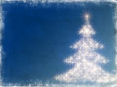 shining christmas tree with frame in blue - stock illustration