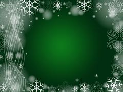 Christmas snowflakes in green - stock illustration