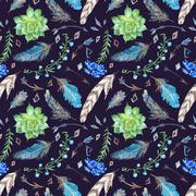 Tribal Forest Pattern Stock Illustration