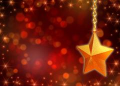 3d golden star with chains and lights - stock illustration