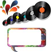 Records and speech bubble on white Stock Illustration