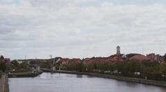 Riverside of the Danube river in Regensburg, Germany Stock Footage