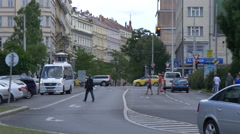 Traffic on Vinohradska street in Prague Stock Footage