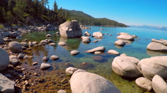An aerial shot over beautiful boulders in Lake Tahoe, Nevada. Stock Footage