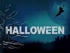Halloween creepy dark blue background Stock Illustration