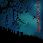 Hallooween background with hangman noose text and graveyard Stock Illustration