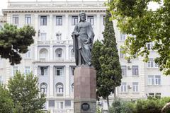 Nizami monument in Baku, Azerbaijan. Nizami Ganjevi was a popular poet in med - stock photo