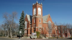 Knox church on 104 street 84 avenue in Edmonton, Alberta Stock Footage