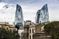 Flame Towers. Flame Towers is a symbol of the new Baku. Retro filter - stock photo