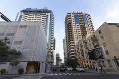 View of the architecture and buildings in Baku, in Azerbaijan. Stock Photos