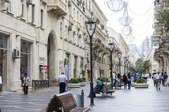 View of the architecture, streets, and buildings in Baku, in Azerbaijan. - stock photo