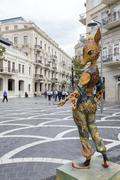 Colorful art sculpture in the middle of the square in Baku, Azerbaijan. - stock photo