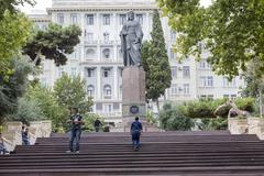 Azerbaijan, Baku - September 16, 2015: Nizami monument in Baku, Azerbaijan. N - stock photo