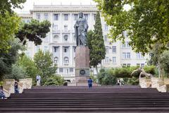 Stock Photo of Azerbaijan, Baku - September 16, 2015: Nizami monument in Baku, Azerbaijan. N