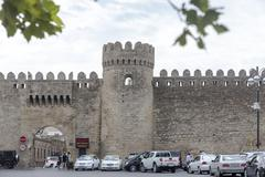 View of the old city walls of Azerbaijan, Baku, in Azerbaijan. - stock photo