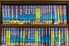 Bookshelves in a bookstore in Thessaloniki, Greece Stock Photos