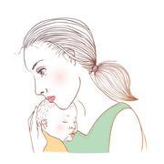 Baby and mum - stock illustration