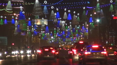 Heavy traffic car large boulevard Bucharest city Xmas holiday decoration winter  Stock Footage